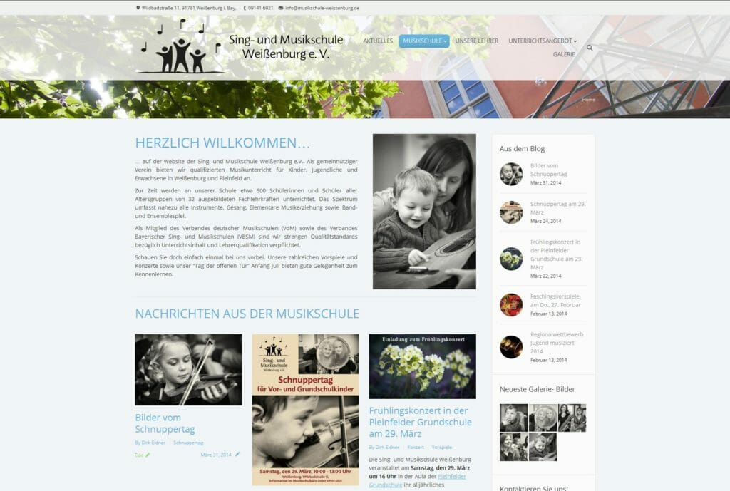 Website der Musikschule Weißenburg